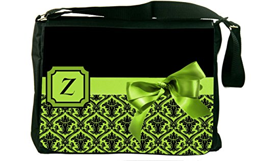 """Rikki Knighttm Letter """"Z"""" Lime Green Monogram Damask Bow Messenger Bag - Shoulder Bag - School Bag For School Or Work"""