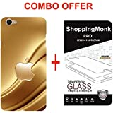 Oppo F1s Apple Logo Back Cover Combo Offer Shopping Monk Premium Quality 3D Printed Lightweight Slim Matte Finish Hard Case Back Cover For Oppo F1s With Premium 2.5D Curved 9H Hardness Tempered Glass Screen Protector.
