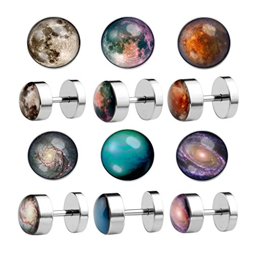 PiercingJ 2-12pcs 16G Solar System Galaxy Universe Stainless Steel Stud Barbell Earrings Illusion Ear Plug 0G Gauge Look (Galaxy Ring compare prices)