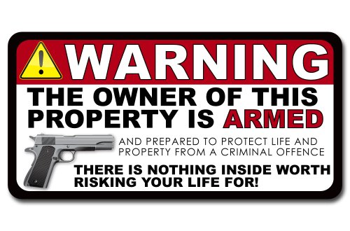 Armed Warning Vinyl Decal Sticker - 6 Inch - 2 PACK (Owner Armed compare prices)