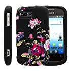 MINITURTLE, Slim Fit Graphic Design Image 2 Piece Snap On Protector Hard Phone Case Cover, Stylus Pen, and Clear Screen Protector Film for Prepaid Android Smartphone ZTE Fury N850, ZTE Director N850L, and ZTE Valet Z665C (Delicate Flowers)