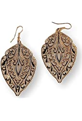 Fashion Earrings Dangle Teardrop Shape Filigree Gold Tone Metal
