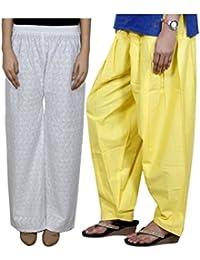IndiWeaves Women Full Cotton Chikan White Palazzo With Cotton Yellow Seme- Patiala Salwar - Free Size (Pack Of 1 Palazzo With 1 Patiala Salwar)