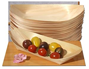 Bamboo Wood Boats Large x50 for party foods, snacks, nibbles, canapé 225X125mm