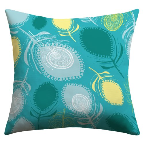 """Deny Designs Rachael Taylor """"Electric Feather Shapes"""" Outdoor Throw Pillow, 20 By 20-Inch"""