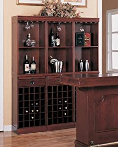 Contemporary Cherry Finish Wood Wine Rack Wall Unit Cabinet w/Drawer