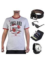 Garushi Grey T-Shirt With Watch Belt Sunglasses Cardholder - B00YMKXAU6