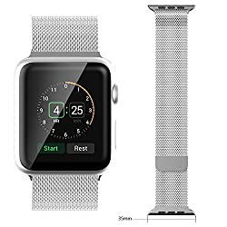 Biaoge Apple Watch Band W Metal Clasp,Milanese Loop Stainless Steel Link Bracelet Replacement Strap Wrist Band for Apple Watch & Sport & Edition (Milanaise 42mm)
