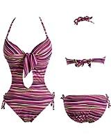 Sexy Women Bikini One Piece Push Up Swimsuit Stripe Bathing Suit Swimwear