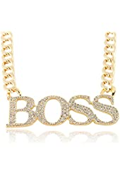 Iced Out Large Boss Pendant with a 16 Inch Adjustable Cuban Chain Necklace - Goldtone and Silvertone Available
