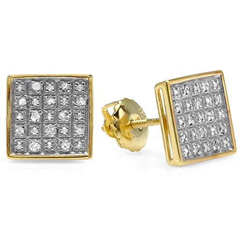 0.10 Carat (Ctw) 18K Yellow Gold Plated Sterling Silver Diamond Square Mens Hip Hop Stud Earrings 1/10 Ct