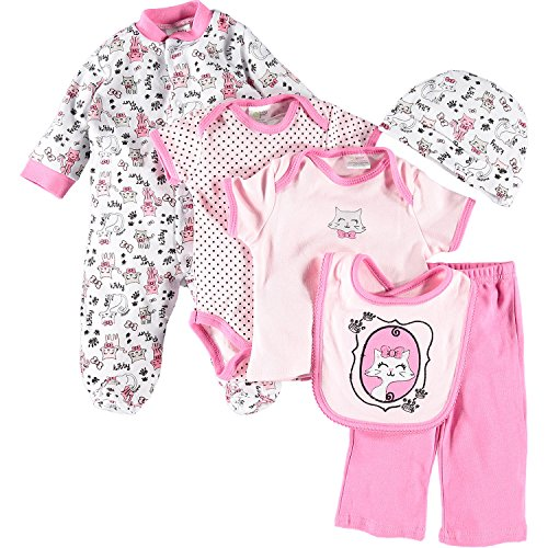 Baby Girls Baby Gear Pink Kitty Six Piece Clothes Set Junior