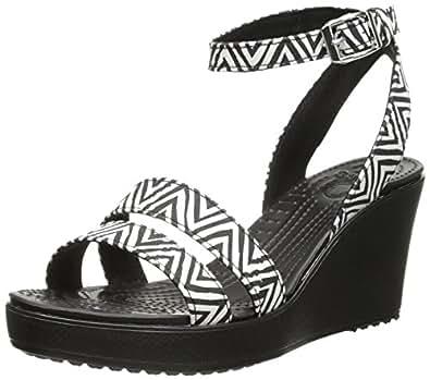 crocs Women's 15313 Leigh Graphic Wedge Sandal, Black/Black, 4 M US