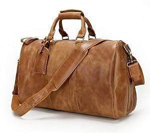 Karsd Duffle Brown Crazy Horse Leather Weekender Gym Travel Bag