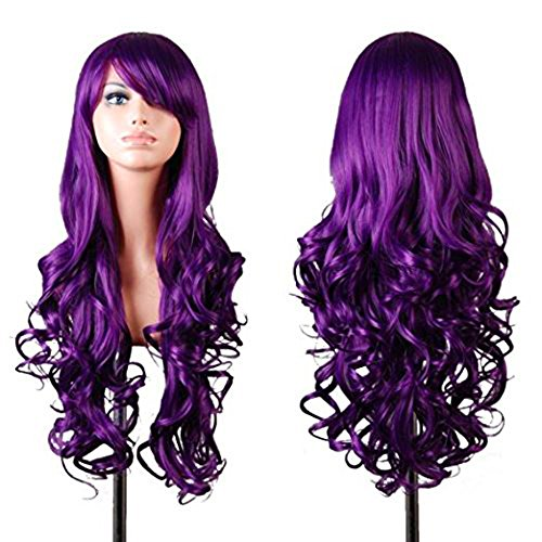Spiral Curly Dark Purple Wig