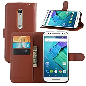 Excelsior Premium Leather Wallet Flip Cover Case For Motorola Moto X Style - Brown
