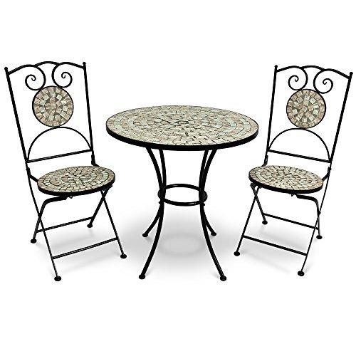 Mosaikgarnitur Bilbao 1 Tisch + 2x Stuhl – Sitzgruppe Sitzgarnitur Gartengarnitur