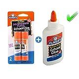 Elmer's bundle Washable Liquid School Glue, White, Dries Clear, 4 fl oz Plus Disappearing Purple Elmer's School Glue Stick, 6g, 2pk (Tamaño: Small)