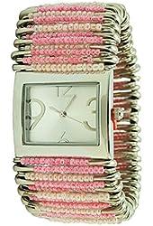 Women's Pastel Pink Safety Pin Watch Rectangular Silver Case
