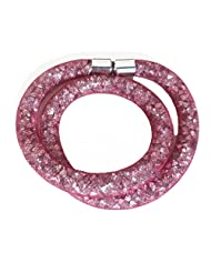 SWAROVSKI STYLE Crystal Bracelet stardust Beads Old Pink, Silver and Black with Magnetic Clasp, 2 Turn