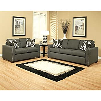 Pasadena Chenille Charcoal Gray 2-Piece Sofa Set