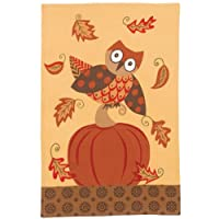 Hoot Owl & Pumpkin Fall Autumn Tea Towel Bernadette Deming