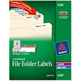 Avery File Folder Labels in Assorted Colors for Laser and Inkjet Printers with TrueBlock Technology, 0.67 x 3.43 Inches, Pack of 750  (5266)