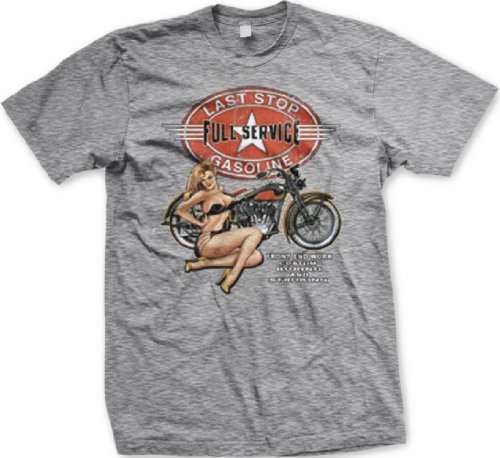 Full Service Gasoline Motorcycles T-shirt, Chopper T-shirts, Biker T-shirts, XX-Large, Lt Gray