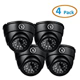Yubi Power 4 Pack YB-250 Fake Outdoor Dome Surveillance Dummy Security Cameras with Blinking LED Lights (Black)