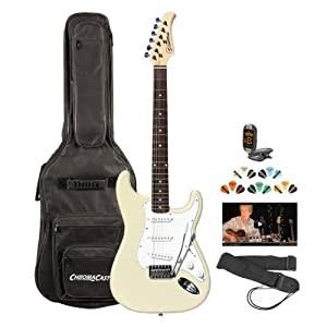 silvertone ss15 wht kit 3 revolver ss15 white electric guitar with tuner strap. Black Bedroom Furniture Sets. Home Design Ideas