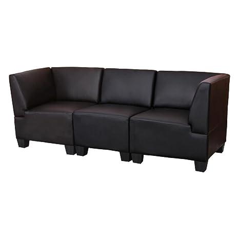 Canapé 3 places lounge/salon Lyon, modulable, simili-cuir, noir