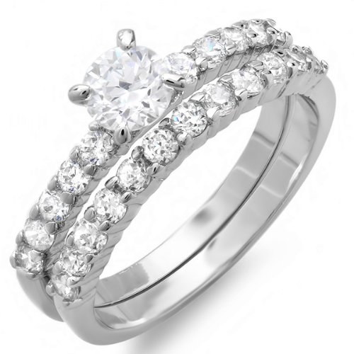 1.50 CT Ladies Round Cubic Zirconia CZ Wedding Bridal Engagement Ring Set (Available in size 6, 7, 8) size 6