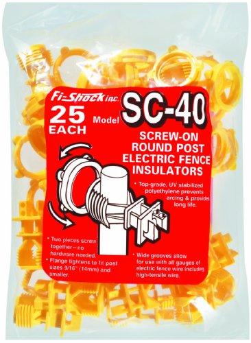 Fi-Shock Sc-40 Yellow Screw-On Round Post Insulator, 25-Per Bag