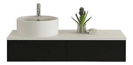 Design Bagno Set di mobili Biel in Nero, Lucido ceramica bacino congelatore con Push Open Mobili per il bagno...