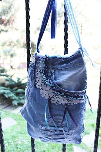 Blue denim handbags, Jeans bags, Jeans Crossbody bags, Boho bag, Recycled bags, Messenger bags, Handbags worn jeans, Jeans tote bag