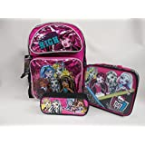 """Monster High Large 16"""" Backpack Book Bag, Lunch Box And Pencil Pouch Set"""