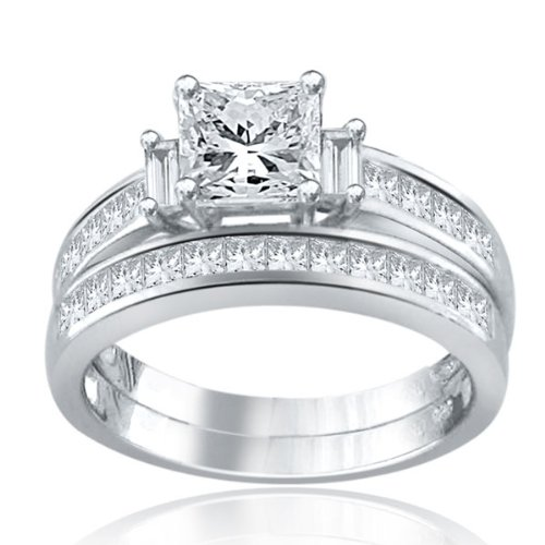 Sterling Silver Simulated Diamond Wedding Set-2.0ct
