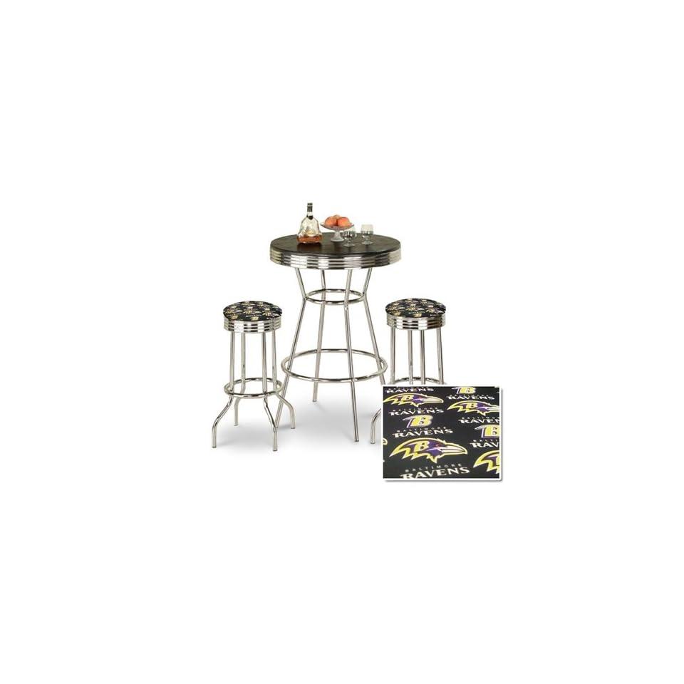 Chrome Bar Table & 2 Chrome Finish Baltimore Ravens NFL Fabric Seat Barstools