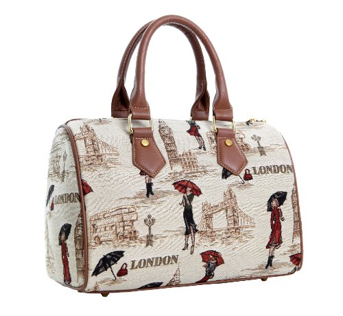 Signare Fashion Canvas/Tapestry Bowling Bag | Barrel Bag in Graceful London beauty