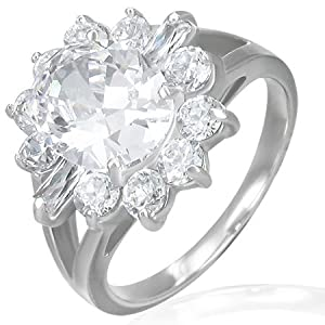 The Stainless Steel Jewellery Shop - Stylish Stainless Steel Cluster-Set Flower Sun Cathedral Split Medallion Ring with Cubic Zirconia (Size N½)