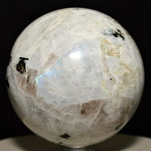 63mm Rainbow Moonstone Sphere with Black Tourmaline Natural Blue Flash Feldspar Ball Rare