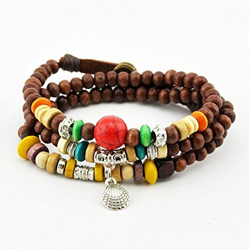 Wild Wind (TM) Fire Dragon Ball Metal Shell Pendant Wood Beaded Button Leather Wrist Wrap Bracelet