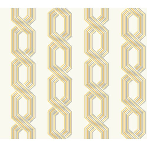 York Wallcoverings GE3612 Ashford Geometrics Retro Links Wallpaper, Variations Of Grey/Yellow On White
