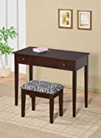 Contemporary Vanity Set with Flip Mirror Top and Zebra Print Stool Espresso Finish