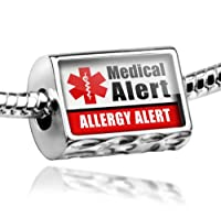 "Neonblond Beads Medical Alert Red ""Allergy Alert"" - Fits Pandora Charm Bracelet from NEONBLOND Jewelry & Accessories"