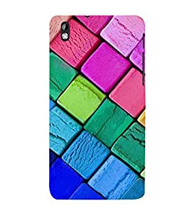 99Sublimation Colourful Square Pattern 3D Hard Polycarbonate Back Case Cover for HTC Desire 816