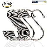 Andreu® 10-Pack Premium Stainless Steel Metal S Hooks Kitchen Pot Pan Hanger Clothes Storage Rack Polished For Your Pots And Pans, Utensils, Towels, Ties And Much More. (3.9 inches)