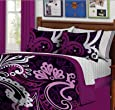 Black & Purple Bold Teen Girls Twin Size Comforter Set (6 Piece Bed In A Bag)