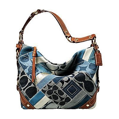 Coach Carly Patchwork Signature Hobo Handbag Denim Leather Indigo Blue