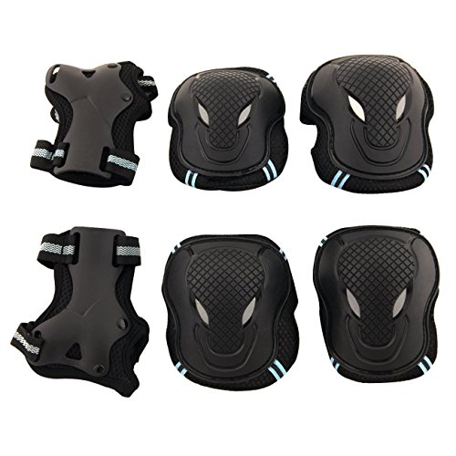 Allnice® Alien 6 in 1 Thicken Skateboard Cycling Roller Skating Outdoor Sport Blading Elbow Knee Wrist Protective Gear Pads Safety Gear Pad Guard for Adult & Child Kid Use (M Size)